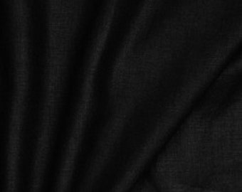 """Black Washed Linen - 100% Linen Fabric Material - 137cm (53"""") wide"""