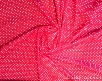 "Cerise Pink - 100% Cotton Poplin Dress Fabric Material - 3mm Polka Dot / Spot - Metre/Half - 44"" (112cm) wide"