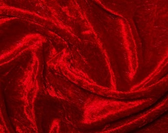 "Red Crushed Velvet Velour Stretch Fabric Material - Polyester - 150cm (59"") wide"