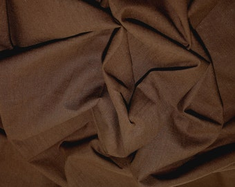 "Brown - Linen Look 100% Cotton Dress Fabric Material - Metre/Half - 58"" (145cm) wide"