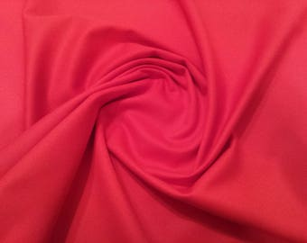 "Red - Plain 100% Cotton Drill Fabric - Medium Weight - 150cm (59"") Wide Dress Fabric"