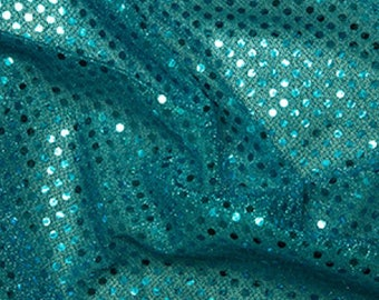 "Turquoise - 3mm Sequin Fabric - Shiny Sparkly Material - 44"" (112cm) wide Knitted Backing"