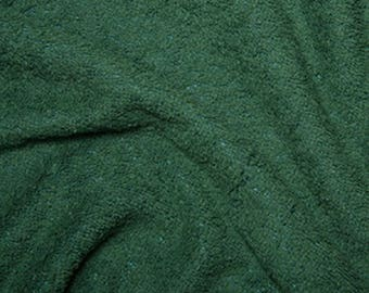 "Bottle Green Cotton Terry Towelling Fabric - Plain Solid Colours - Towel Material - 150cm (59"") wide"