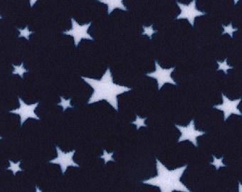 "White Stars on Navy Blue - Polar Fleece Fabric - Metre/Half - Anti Pil - 59"" (150cm) wide"