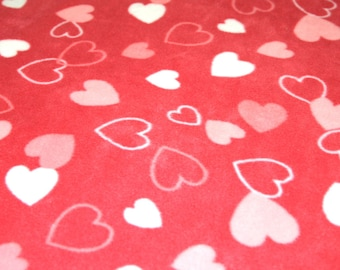 "Mixed Hearts on Pink - Polar Fleece Fabric - Metre/Half - Anti Pil - 59"" (150cm) wide"