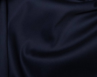 "Navy Blue - Plain Cotton Stretch Sateen Fabric Dress Material - 146cm (57"") wide"