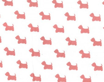 "Terrier Dog - Pink on Cream - 100% Cotton Poplin Dress Fabric - Material - Metre/Half - 44"" (112cm) wide"