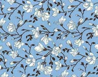 "White/Black on Sky Blue Floral Flowers - 100% Cotton Poplin Dress Fabric - Material - Metre/Half - 44"" (112cm) wide"