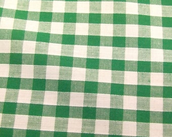 Emerald Green - Corded Gingham - Quarter Inch Check - Dress Fabric Material - Metre/Half - 44 inches (112cm) wide