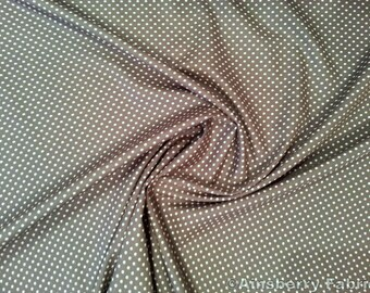 "Grey - 100% Cotton Poplin Dress Fabric Material - 3mm Polka Dot / Spot - Metre/Half - 44"" (112cm) wide"