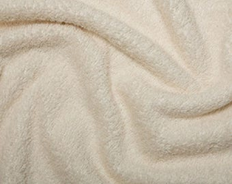 "Cream Cotton Terry Towelling Fabric - Plain Solid Colours - Towel Material - 150cm (59"") wide"