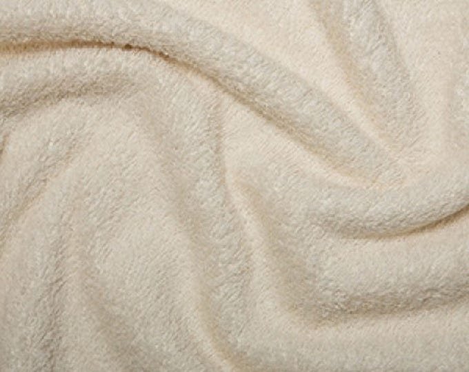 "Featured listing image: Cream Cotton Terry Towelling Fabric - Plain Solid Colours - Towel Material - 150cm (59"") wide"