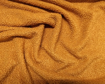 "Mustard/Gold - Curly Knit Boucle Type Stretch Fabric - Polyester Material - 150cm (59"") wide"