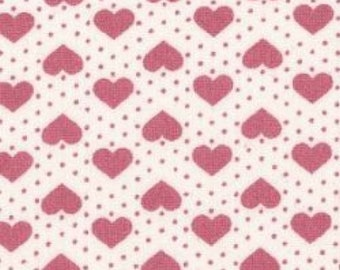 "Hearts and Spots - Pink on White - 100% Cotton Poplin Dress Fabric - Material - Metre/Half - 44"" (112cm) wide"