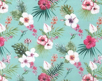 "Pink White Flowers - Floral 100% Cotton Poplin Dress Fabric - Metre/Half - 60"" (150cm) wide"
