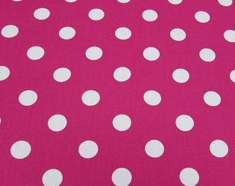 "Cerise Pink - 100% Cotton Poplin Dress Fabric Material - 22mm Polka Dot / Spot - Metre/Half - 44"" (112cm) wide"