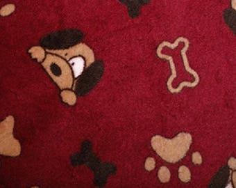 "Burgundy - Dog Faces, Paws & Bones - Double Sided - Anti-Pil Polar Fleece Fabric -59"" (150cm) wide"