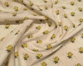 "Honey Bees on Ivory/Cream - 100% Cotton Poplin Dress Fabric - Material - Metre/Half - 44"" (112cm) wide"