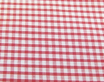 Red - Corded Gingham - Eighth 1/8 Inch Check - Dress Fabric Material - Metre/Half - 44 inches (112cm) wide