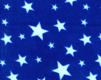 "White Stars on Royal Blue - Polar Fleece Fabric - Metre/Half - Anti Pil - 59"" (150cm) wide"