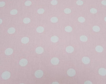 "Pink - 100% Cotton Poplin Dress Fabric Material - 22mm Polka Dot / Spot - Metre/Half - 44"" (112cm) wide"