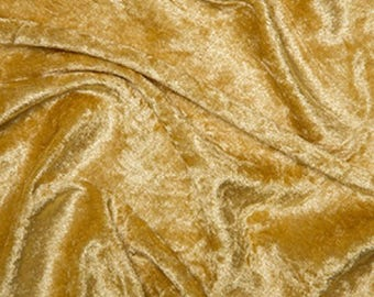 "Gold Crushed Velvet Velour Stretch Fabric Material - Polyester - 150cm (59"") wide"