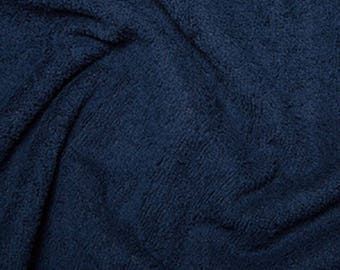 "Navy Blue Cotton Terry Towelling Fabric - Plain Solid Colours - Towel Material - 150cm (59"") wide"
