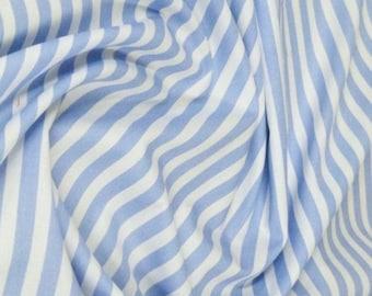 "Pale Blue / White - 100% Cotton Poplin Dress Fabric Material - 8mm Stripe - Metre/Half - 44"" (112cm) wide"