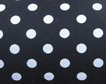 "White on Black - 100% Cotton Poplin Dress Fabric Material - 7mm Polka Dot / Spot - Metre/Half - 44"" (112cm) wide"
