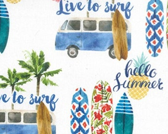 "Camper Vans & Surf Boards - 100% Cotton Poplin Dress Fabric - Metre/Half - 60"" (150cm) wide"