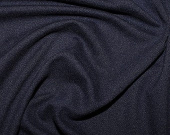 """Navy Blue - Plain Brushed ITY Jersey Knit Fabric - 5% Spandex - 150cm (59"""") wide"""
