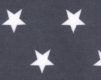 "White Stars on Grey - 100% Cotton Poplin Dress Fabric Material - 20mm Stars - Metre/Half - 44"" (112cm) wide"