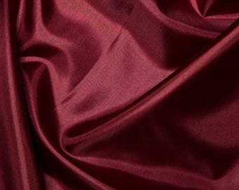 "Wine Red Habotai 'Silk' Lining Fabric Polyester Material 145cm (57"") Wide"