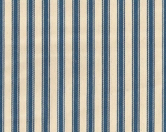 "Denim Blue on Ivory - 100% Cotton Ticking Stripes Fabric Material - 137cm (53"") wide"