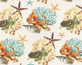 "Sea Creatures, Turtle, Starfish, Octopus, Coral - 100% Cotton Poplin Dress Fabric - Metre/Half - 60"" (150cm) wide"