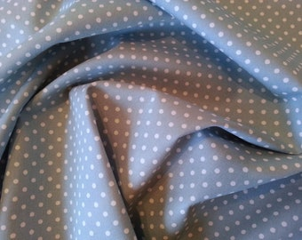 "Pale Blue - 100% Cotton Poplin Dress Fabric Material - 3mm Polka Dot / Spot - Metre/Half - 44"" (112cm) wide"