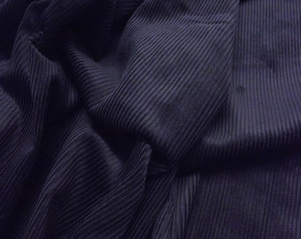 "Navy Blue - Cotton Corduroy 8 Wale Fabric Material - 144cm (56"") wide"