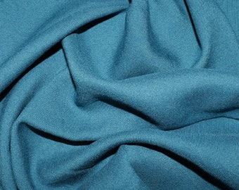 "Teal Blue - Plain Viscose Twill Dress Fabric Material - per Metre/Half - 55"" (140cm) wide"