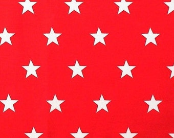 "White Stars on Red - 100% Cotton Poplin Dress Fabric Material - 20mm Stars - Metre/Half - 44"" (112cm) wide"