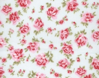 "Pink Flowers on Mint Green - Floral 100% Cotton Poplin Dress Fabric - Material - Metre/Half - 44"" (112cm) wide"