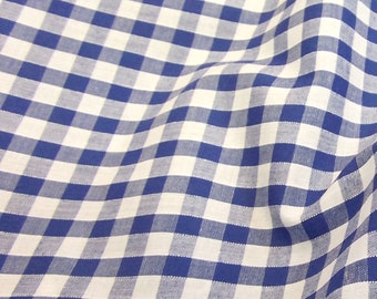 Royal Blue - Corded Gingham - Quarter Inch Check - Dress Fabric Material - Metre/Half - 44 inches (112cm) wide