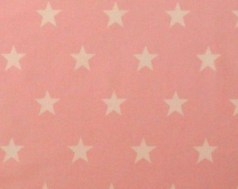 "White Stars on Pink - 100% Cotton Poplin Dress Fabric Material - 20mm Stars - Metre/Half - 44"" (112cm) wide"