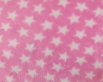 "White Stars on Pink - Polar Fleece Fabric - Metre/Half - Anti Pil - 59"" (150cm) wide"