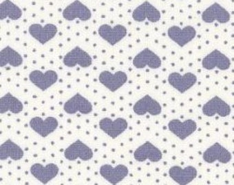 "Hearts and Spots - Blue on White - 100% Cotton Poplin Dress Fabric - Material - Metre/Half - 44"" (112cm) wide"