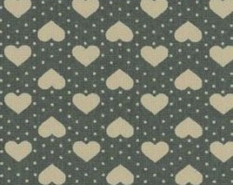 "Hearts and Spots - White on Green - 100% Cotton Poplin Dress Fabric - Material - Metre/Half - 44"" (112cm) wide"