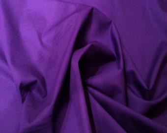 "Purple - 100% Cotton Poplin Dress Fabric Material - Plain Solid Colours - Metre/Half - 44"" (112cm) wide"