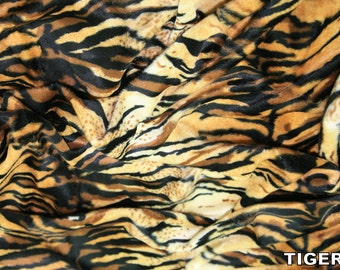 "Tiger - Animal Print Polyester Velboa Fabric - Metre/Half - Faux Fur Pony Skin 58"" (145cm) wide Velour"