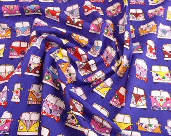 "Purple / Royal Blue - VW Camper Van in Lines - 100% Cotton Poplin Dress Fabric Material - Metre/Half - 44"" (112cm) wide"