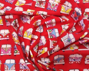 "Red - VW Camper Van in Lines - 100% Cotton Poplin Dress Fabric Material - Metre/Half - 44"" (112cm) wide"