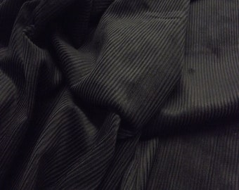 "Black - Cotton Corduroy 8 Wale Fabric Material - 144cm (56"") wide"